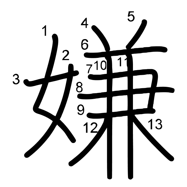 嫌 es el kanji de antipatía, aversión, obediencia, detestar, odiar ...