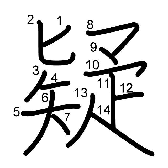 疑 es el kanji de duda, descon...